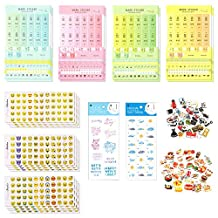 Scrapbook Stickers Sets - Calendar Stickers & Emoji Stickers Included for Bullet Journals/Planners/Agenda/Notebooks as Monthly Reminder Stickers Self Adhesive Index Tabs