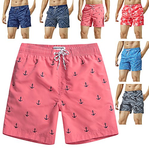 MaaMgic Mens Quick Dry Anchor Swim Trunks with Mesh Lining Swimwear Bathing Suits,Red-glm009,Medium