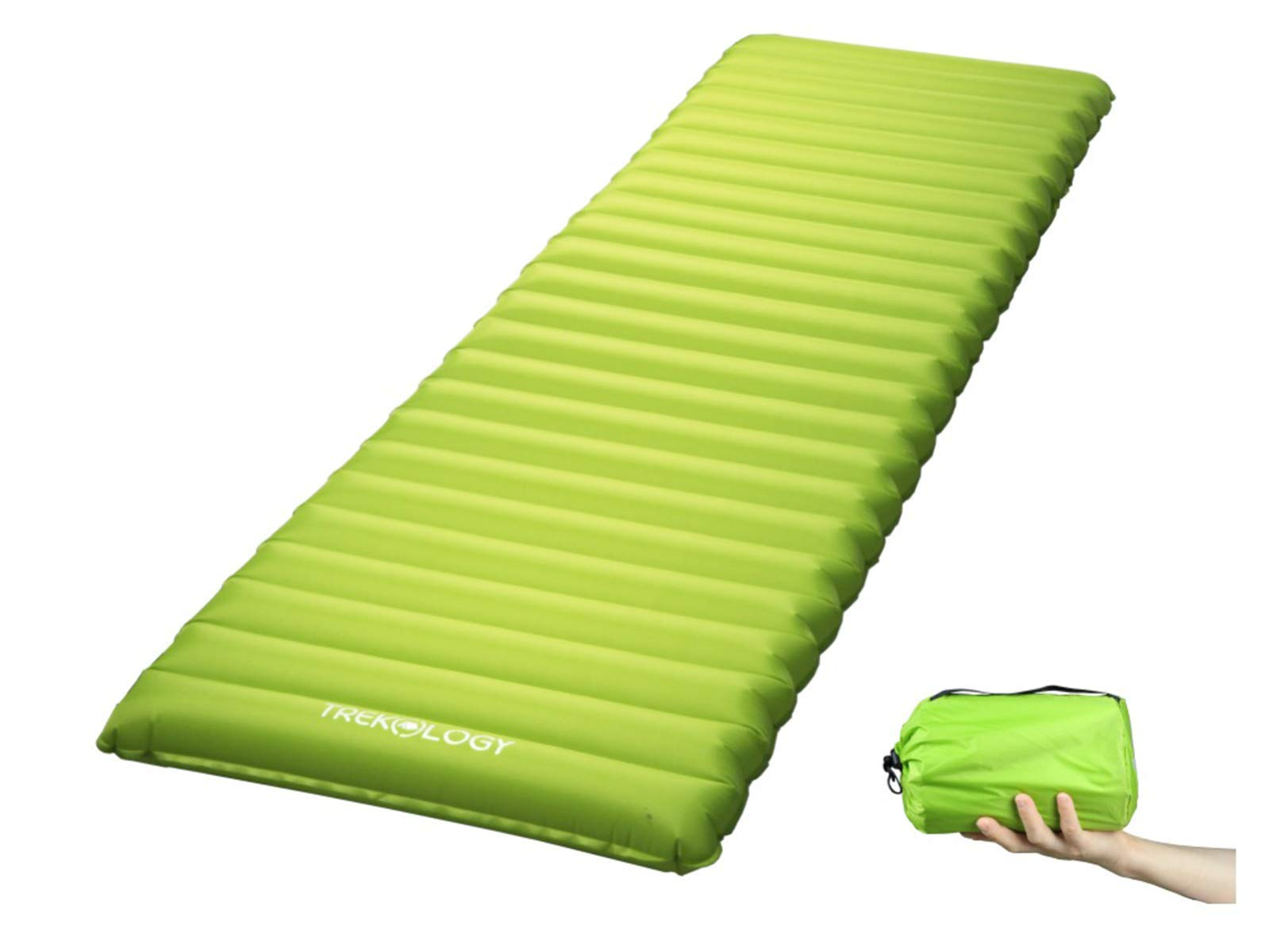 Ultralight Sleeping Pad, Inflating Camping Mattress w/Air Pump Dry Sack Bag - Compact Lightweight Camp Mat, Inflatable Backpacking Gear as Tent Pads, Hammock Mats for Travel, Hiking, Sleep (Green) by Trekology