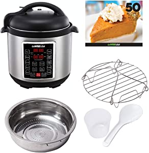 GoWISE USA GW22620 4th-Generation Electric Pressure Cooker withsteam rack, steam basket, rice scooper, and measuring cup, 6 QT