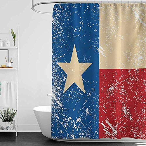 Shower Curtains Teal and Turquoise Texas Star,Grunge Flag Illustration with Lone Star Retro Independence Sign,Vermilion Beige Navy Blue,W69 x L90,Shower Curtain for Small Shower stall