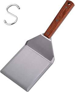 Pharamat Stainless Steel Griddle Hamburger Spatula with Strong Wooden Handle, 13.5 x 5 inches, Heavy Duty Spatula Turner with A Hook, Great for Pancake Flipper, Fish, Eggs, Burgers, Omelet and More