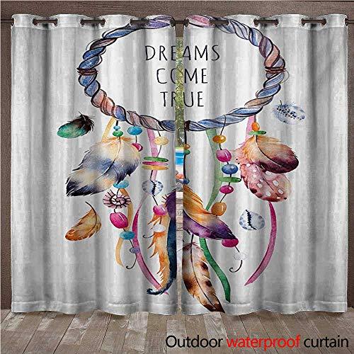 (Feather Patio Gazebo Pergola Cabana Ethnic and Tribal Native American Dream Catcher Illustration Bohemian Style ImageW120 x L96 Multicolor)