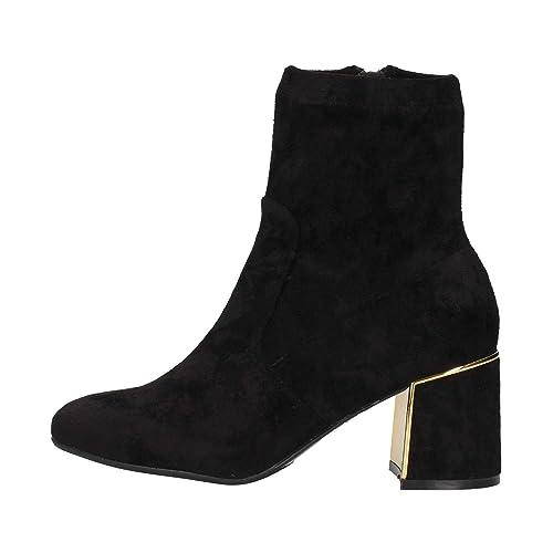 Caf Noir LA917 Botines Negros Mujer Botines de Gamuza talón con Cremallera: Amazon.es: Zapatos y complementos