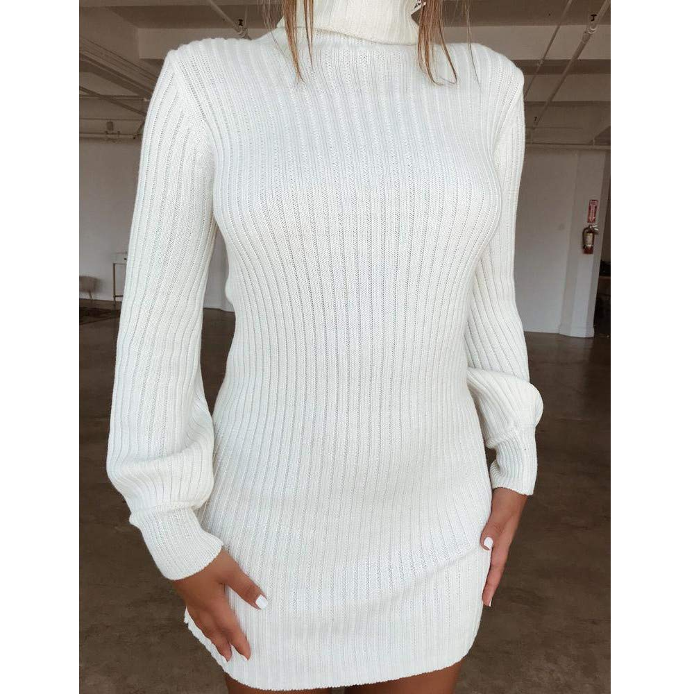 Womens Turtleneck Sweaters Dress,Cenglings Warm Casual Long Sleeve Puff Sleeve Slim Knitted Blouse Long Tops /…