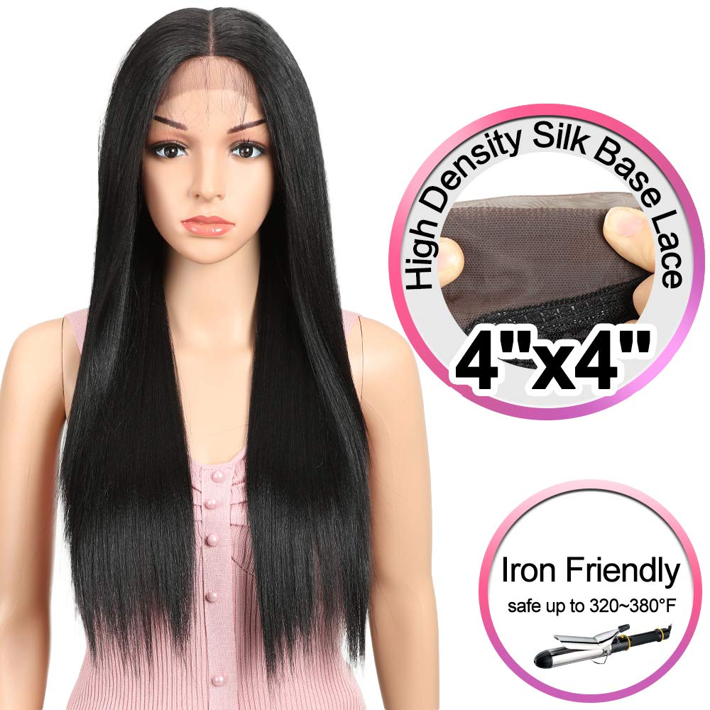 JOEDIR 26'' Long Straight Free Parting Silk Base Lace Frontal Wigs With Baby Hair High Temperature Synthetic Wigs For Black Women 180% Density Ombre Color Wigs 250g(1B) by Joedir
