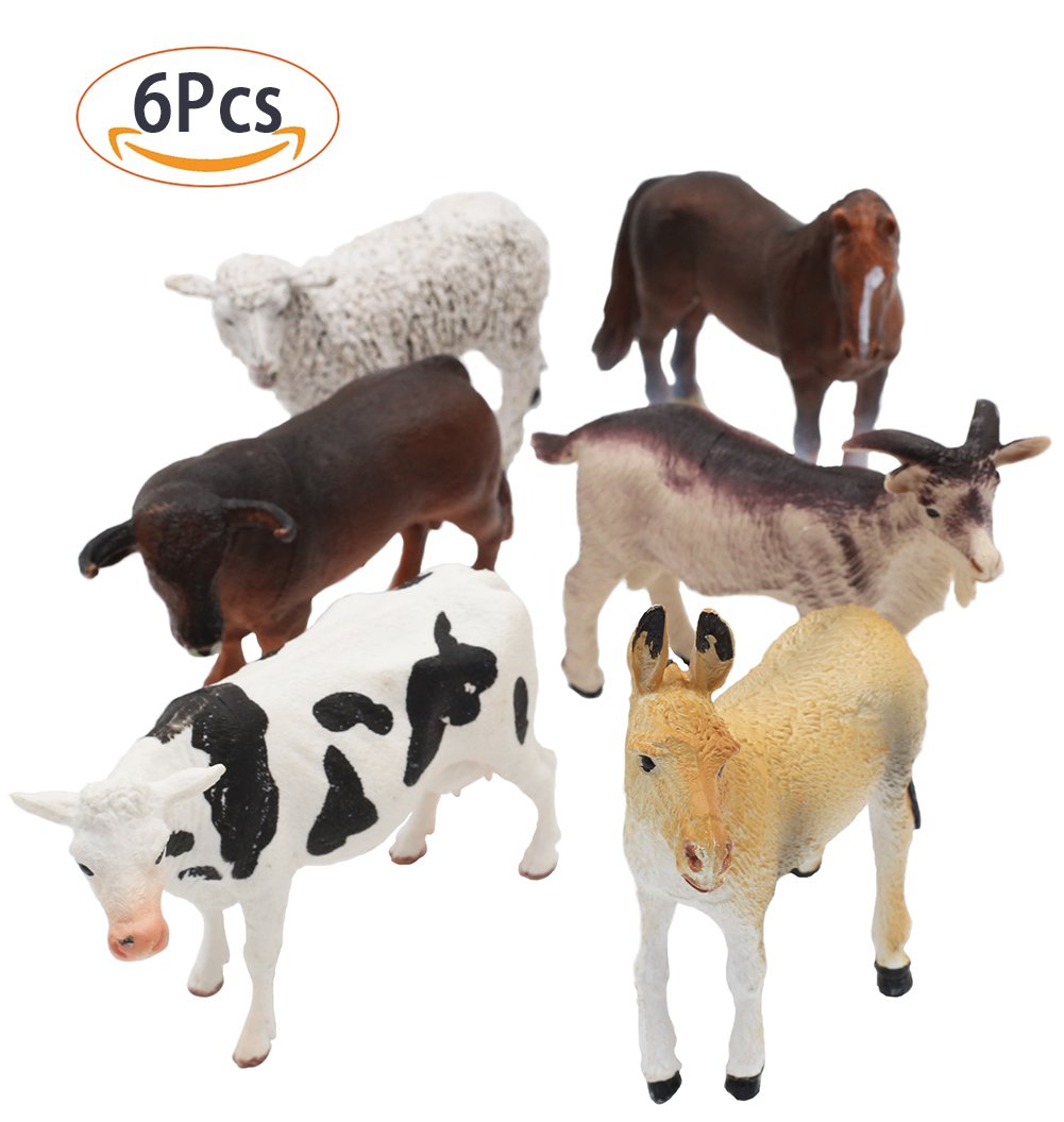 Farm Animals Figure Toys Set,6 Piece Jumbo Farm Animals Toys Set,Realistic Wild Vinyl Pastic Animal Learning Party Favors Toys For Boys Girls Kids Toddlers Big Farm Animals Toys Playset
