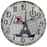 Cheap HIPPIH Silent Round Wall Clocks (12 Inches) Living Room Decorative Vintage/Country / French Style Wooden Clock(Round Eiffel)