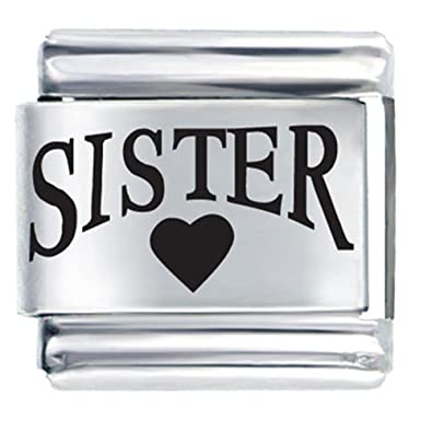Sister Heart Charm Laser Italian Nomination Charms Cheap Fit Classic Link  Bracelet  Amazon.co.uk  Jewellery e61d7a421345