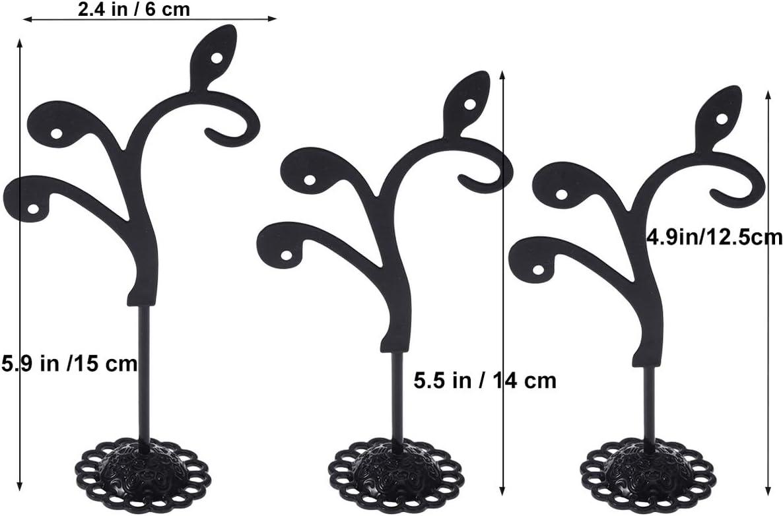 Negro Cabilock 6 Piezas de aretes de Hierro de Hierro Soporte para Soporte en Forma de t Oreja Resistente Expositor Organizador de Almacenamiento de Joyas para Pendientes Anillo de Collar