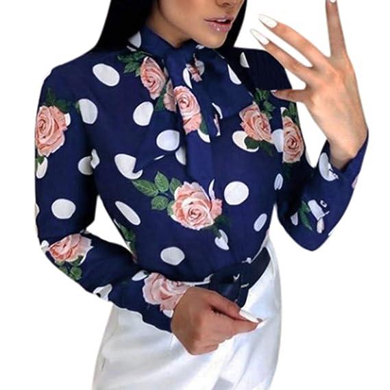 AMhomely Blusa de Mujer de Moda con Estampado de Lunares y Corbata ...
