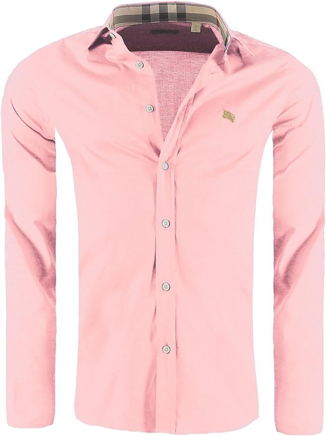 Burberry - Camisa Formal - Básico - Clásico - Manga Larga - para Hombre Flamingo Pink XL: Amazon.es: Ropa y accesorios