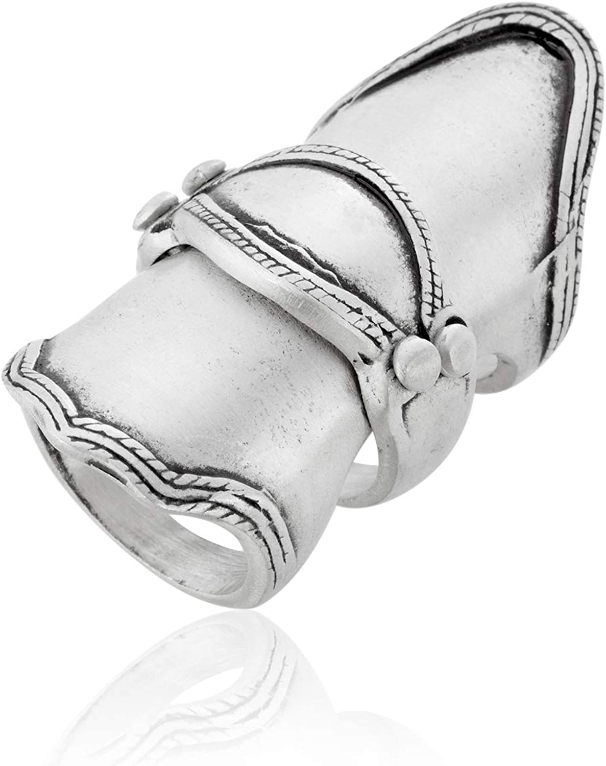 Namaste Jewelers Punk Knuckle Hinged Armor Ring Pewter Jewelry