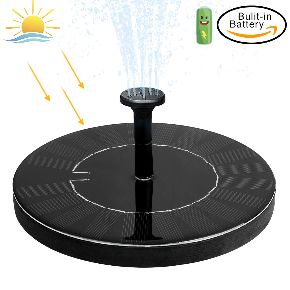 jerayley Solar Fountain Pump, 1.5W Upgraded Solar Water Fountain Panel Kit with Battery Backup for Bird Bath Pond, Pool and Garden Lawn Fish Tank, 2 years warranty