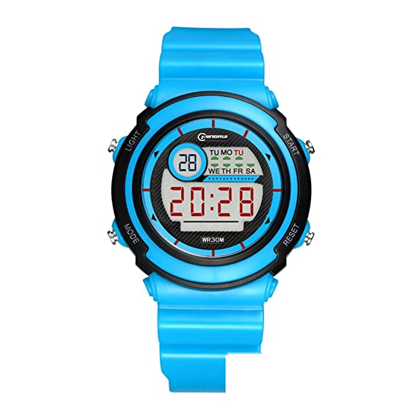 [Niño] Reloj Digital Resistente al Agua [Encantador] Reloj Digital multifunción Reloj Luminoso Reloj Despertador Estudiantes Reloj Pin Hebilla Correa -C: ...