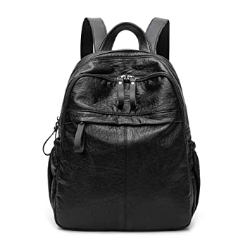 ZLK backpack Mochila Negra Femenina Salvaje Casual De Cuero Suave para Mujer Bolso Retro Mochila De Viaje: Amazon.es: Hogar