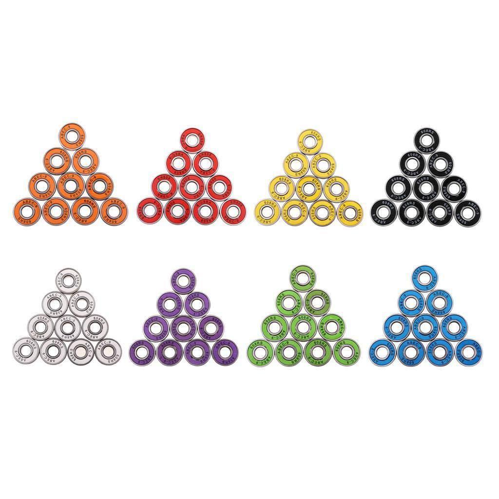FidgetFidget Roller Skate Wheel Bearings Seal Ball Bearings 10 Pieces ABEC-9 608RS