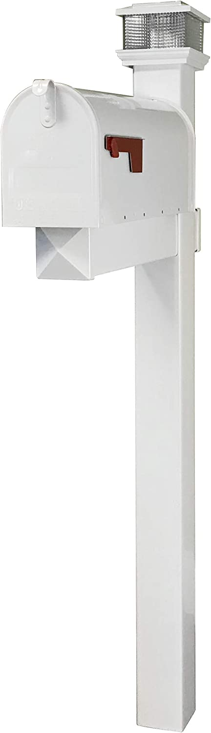 The Galaxy Steel Mailbox with LED Solar Light Cap and White Vinyl Post White Mailbox