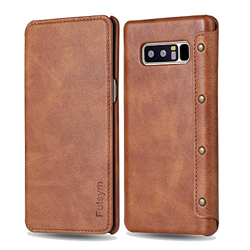 Galaxy Note 8 Wallet Case, Ultra Slim Business Style, FUTSYM Premium Scratch Resistant Leather Flip Case for Samsung Galaxy Note 8, with Gift Box (Brown)