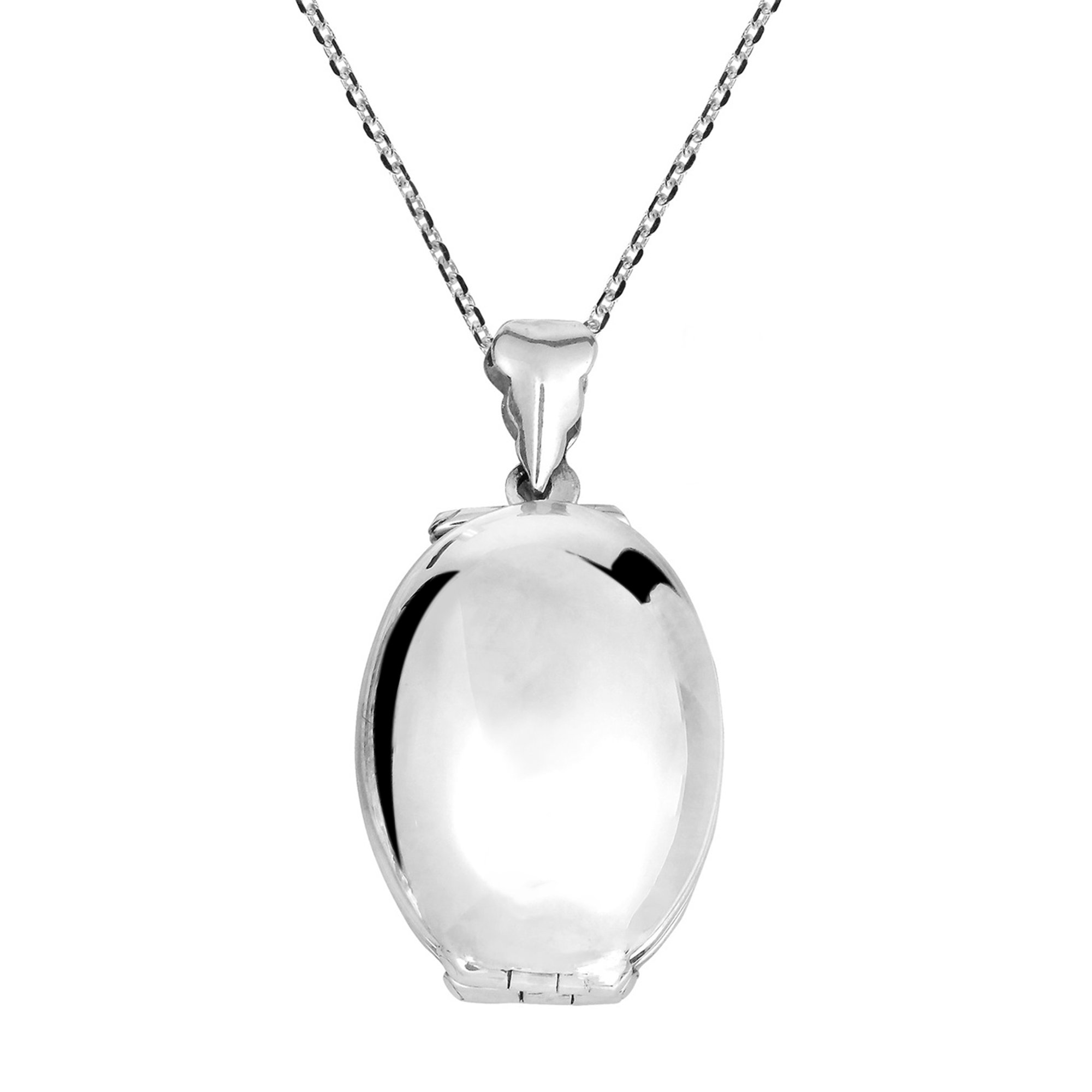 AeraVida Four Sided Connected Family Oval Locket .925 Sterling Silver Necklace by AeraVida