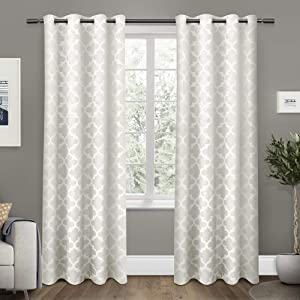 Exclusive Home Curtains Cartago Insulated Woven Blackout Grommet Top Curtain Panel Pair, 54x84, Vanilla, 2 Count