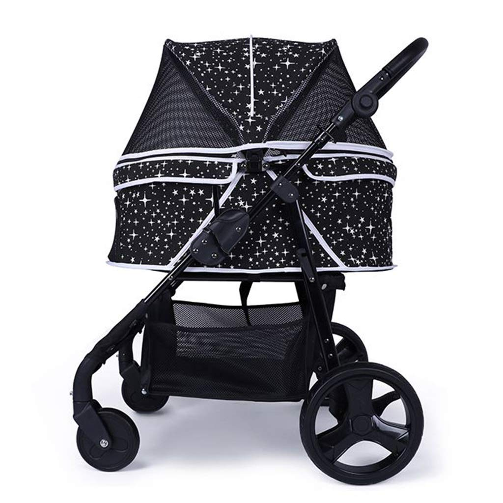 Black MZP Dog Cat Pushchair Easy Foldable Pram For Loading 30 Kg Mattress Included Multiple Pets Wheeled Trolley Excursion Wheeled Stroller Multi-functional Dog Trolley (color   Black)