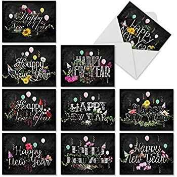 m2358nyb new year chalk and roses 10 assorted blank new year note cards featuring beautiful
