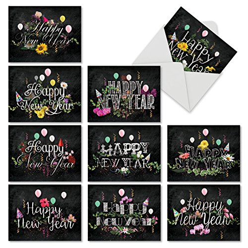 M2358NYG New Year Chalk And Roses: 10 Assorted New Year Note Cards Featuring Beautiful New Year Sentiments Surrounded by Flowers and Balloons, w/White Envelopes.