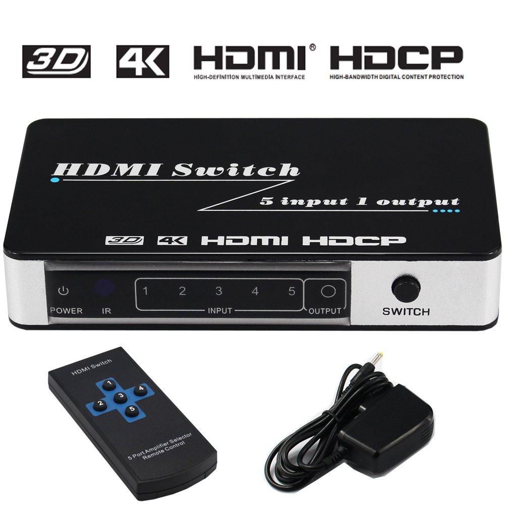 HDMI Switch 5x1 4Kx2K@30Hz 5 Port Switcher Splitter Box Support Ultra HD 3D IR Wireless Remote Control Power Adapter Full HD 1080P