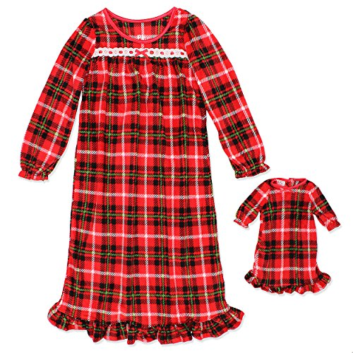 PJ & Me Girls Fleece Granny Gown Nightgown Pajamas With Doll Gown (4T, Red)