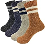 Women's Thick Soft Warm Winter Wool Crew Socks Vintage Casual Ankle Socks for Girl Pack of 4 Size 5-9.5  One Size