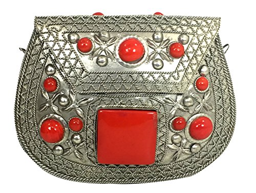 Girls Wallet Antique Handmade Work Clutch Red for Women Beads with and Metal Handbag Silver Chain Glass Resin ZgwqB1Tgx