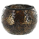 Coconut Grove Galleria Brown Mosaic Glass Roly Poly Round Bowl Votive Candle Holder