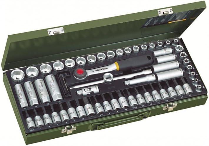 Schraubereins/ätze Proxxon 23112 Steckschl/üsseleins/ätze//Super-Kompaktsatz mit Ratsche 65-teilig Tiefbetteins/ätze Z/ündkerzen-Spezialeins/ätze