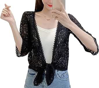 Macondoo Women Lace Thin Slim Fit Hollow Out Bolero Cardigan Summer Shrugs