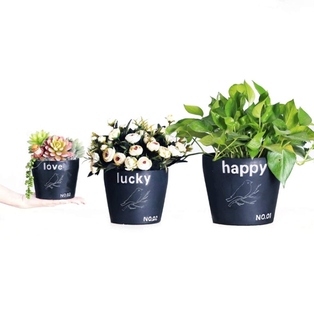 White Happy White Happy WEATLY Green Plant Potted Mandarin Succulent Plant Pots Micro Landscape Office Green Plant Combination With Ornaments (color   White, Shape   Happy)