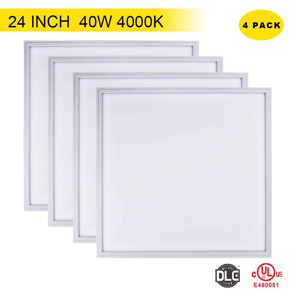 4 PACK T-SUNRISE 24x24 Inch LED Panel Light Not Dimmable 40W-3600LM-Natural White(4000K) - Ceiling Lamp Recessed Light for Office/Kitchen/Hotel/Supermarket/Meeting Room Ceiling Flat Tile Panel Light