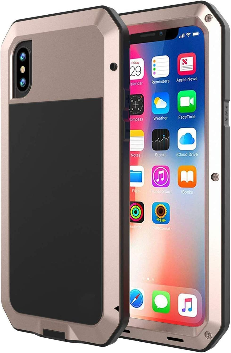 Metal Case for iPhone X Xs with Screen Protector R-JUST Heavy Duty Shockproof Cover with Gorilla Glass Extreme Snowproof Dustproof Case for iPhone 10 Xs 5.8 X /& XS, Blue