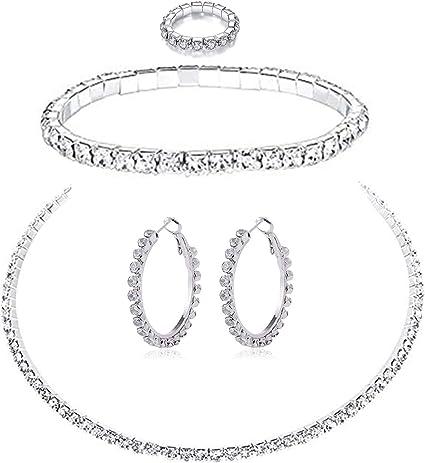 Pendientes,con Caja PPX Collar Pendientes Cristal de Diamante Elegante Joyas de Mujer Conjunto de Cristal Colgante Collar