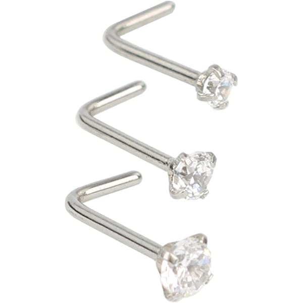Body Piercing 3pcs 14K Solid Yellow Gold Cubic Zirconia Round 2.0mm Nose Rings