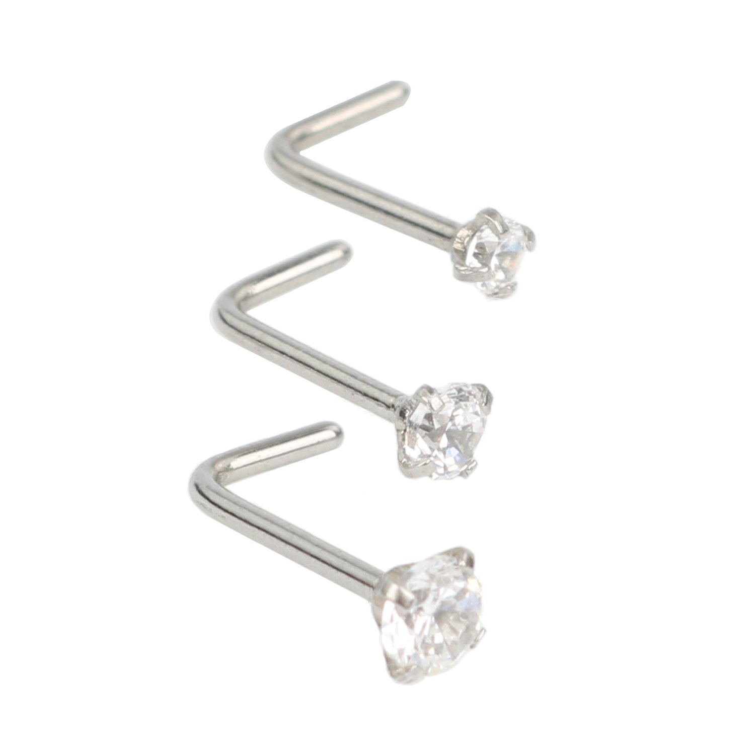 1 Sets 3 Pcs White Anti-allergy Drilling Insert Zircon Round Heart Star Shaped Curved Nose Rings Stainless Steel Nose Studs Screw Piercing Rings for Body Jewelry Piercing Fashion