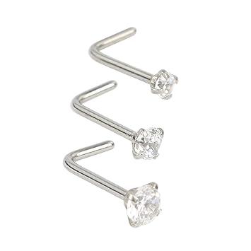 Titanium Opal Nose Stud L Twist Bend Bone Bar 316L Steel Pin Body Piercing Ring