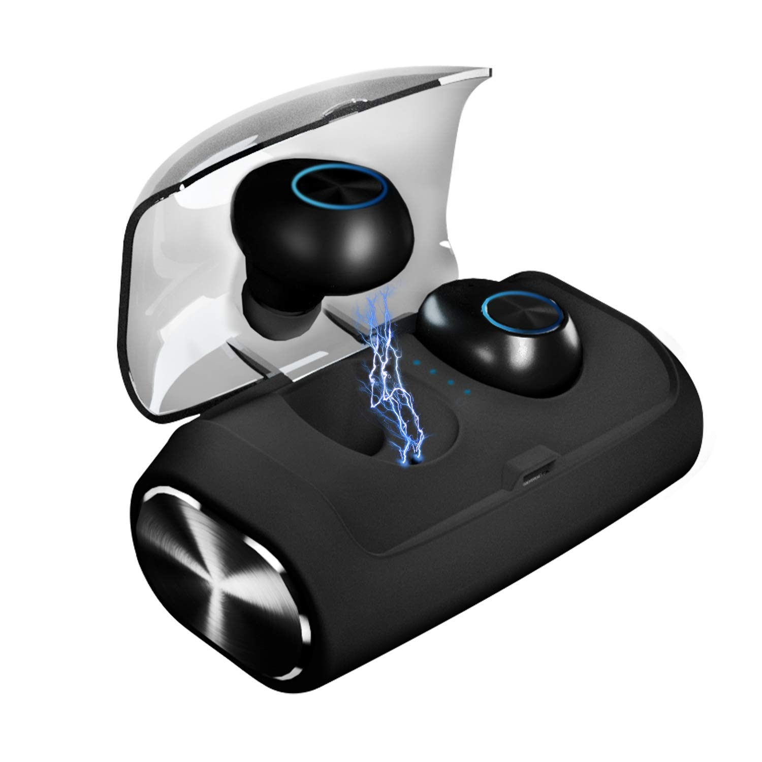 True Wireless Earbuds,Bluetooth 5.0 Headphones 100H Playtime 2600mAh Charging Case Earphones One Step Pairing Bluetooth Earbuds Waterproof Stereo Sound Single Twin Mode with Built-in Mic
