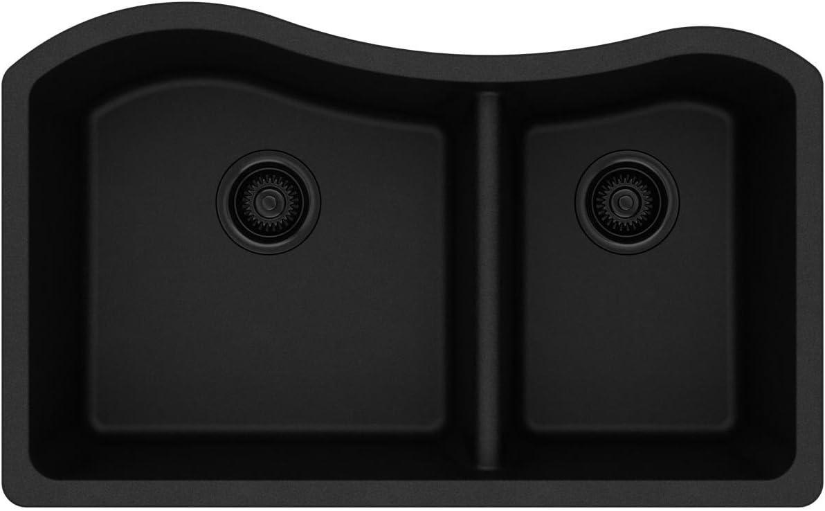 Elkay Quartz Classic ELGHU3220RBK0 Black 60/40 Double Bowl Undermount Sink
