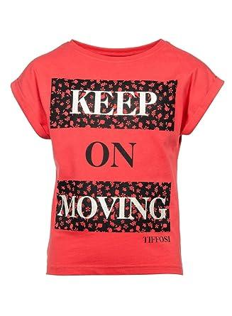 c1805de1aec15 Tiffosi Tee Shirt Rouge pour Enfant Fille avec Logo Noir 2ans 4ans 6ans  8ans 10ans 12ans