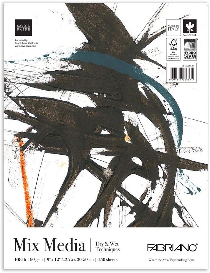 FabrianoFAT Mix Media Pad 160gsm//108lb 150 Sheets 9 by 12 Inches