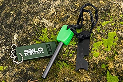 Solo Survival Best Magnesium Fire Starter Flint Emergency Whistle Bottle Opener Ruler Hiking Campfire Camping Essential Survival Gear Prepper Survivalist Sports Outdoors 12,000 Strikes