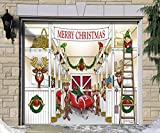 Outdoor Christmas Holiday Garage Door Banner Cover Mural Décoration - Santa's Reindeer Barn without Santa Holiday Garage Door Banner Décor Sign 7'x8'