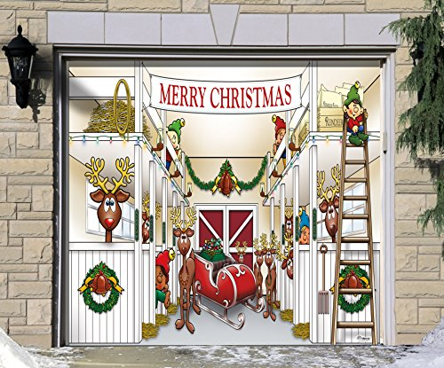 Outdoor Christmas Holiday Garage Door Banner Cover Mural Décoration - Santa's Reindeer Barn without Santa Holiday Garage Door Banner Décor Sign 7'x8' by Victory Corps