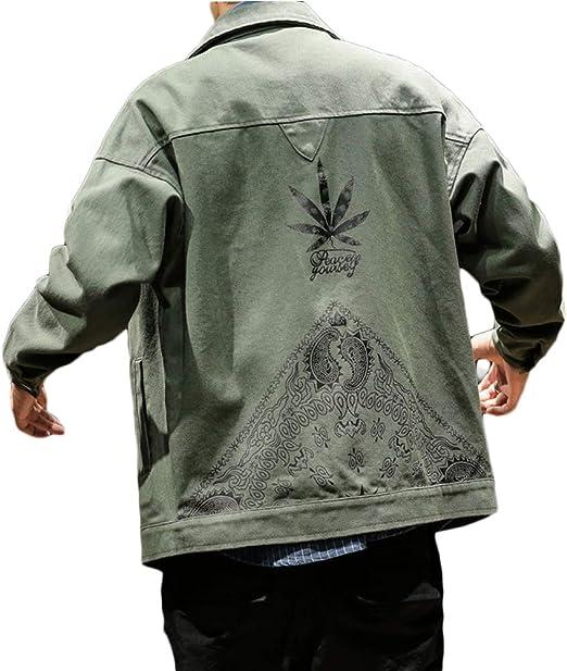 habille(ハビー) メンズ ジージャン 大きいサイズ デニムジャケット ペイズリー ボタニカル ジャケット おまけ付(3カラー)